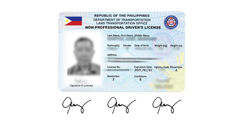 Valid Government ID with 3 specimen signatures
